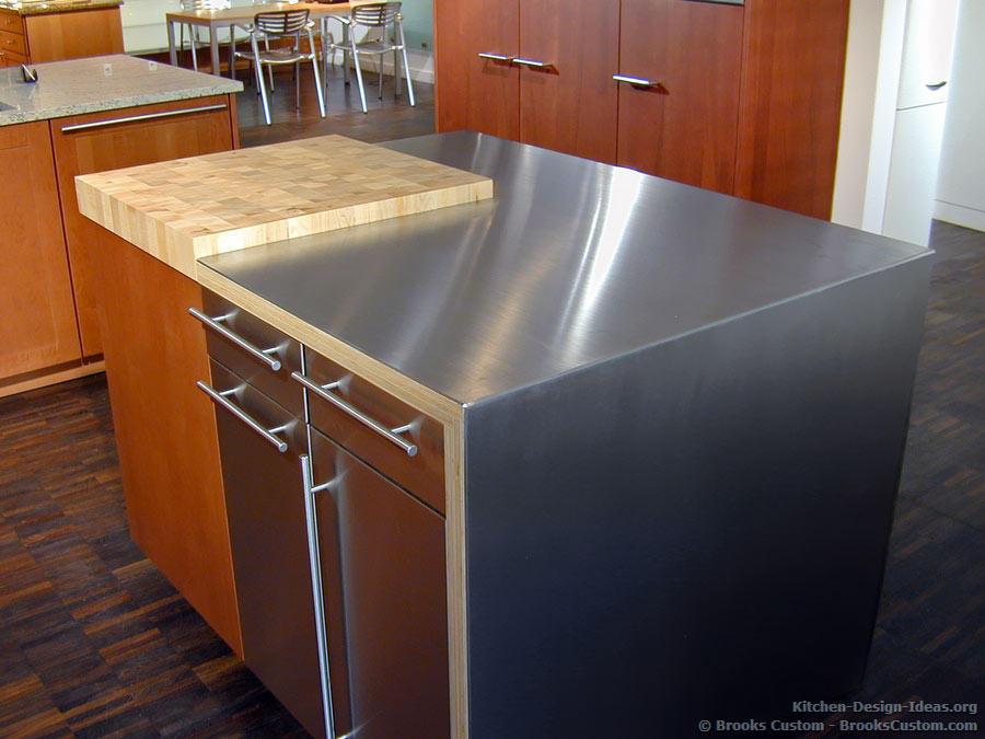 Combination Butcher Block and Stainless Steel Countertop