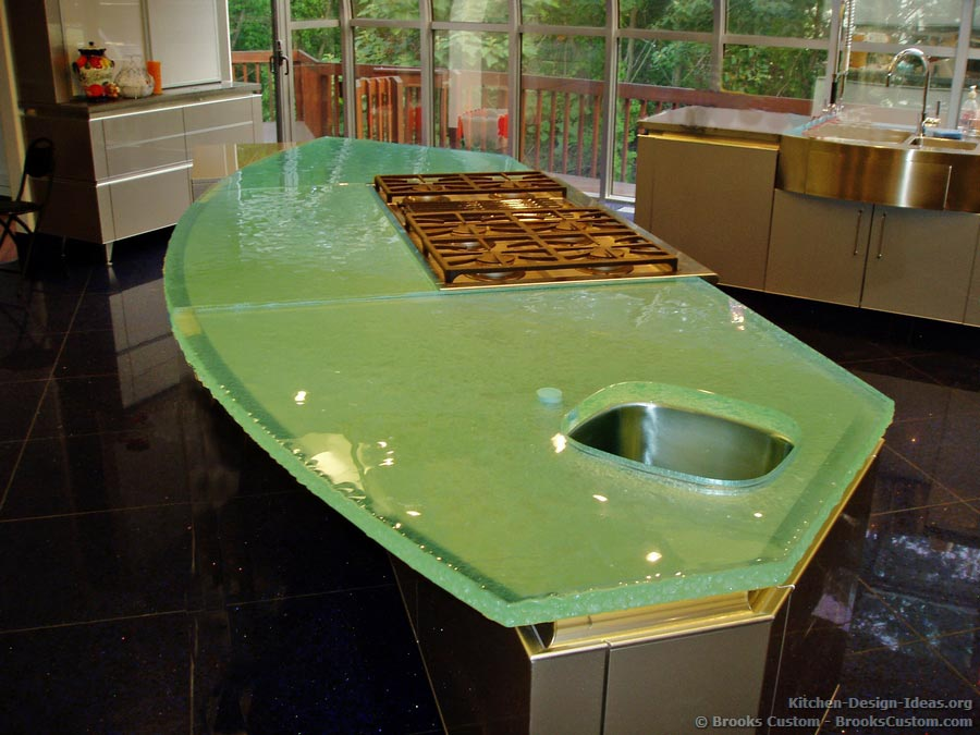 A Thick Glass Countertop on a Modern Kitchen Island