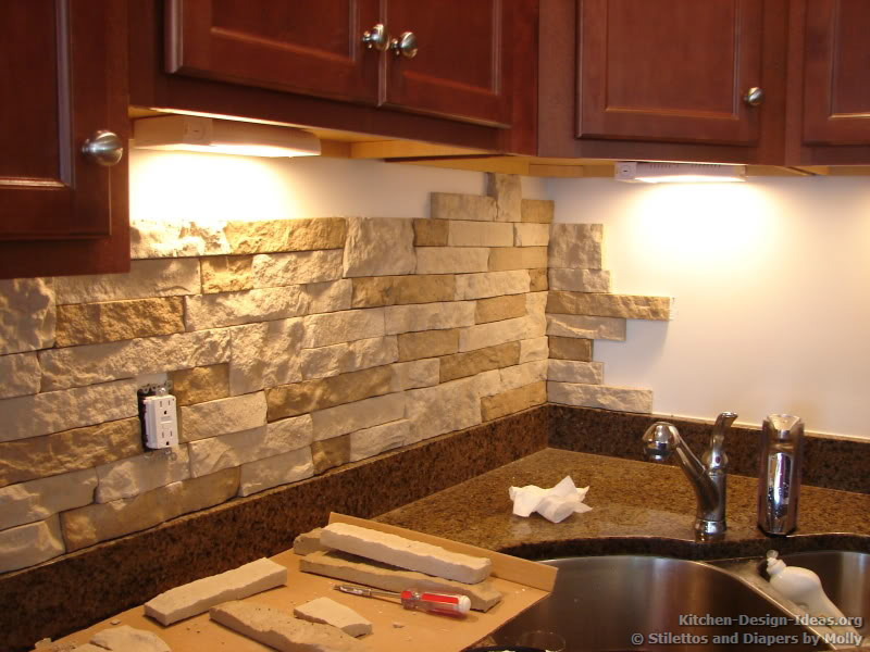 do it yourself backsplash copyright stilettos and diapers blog - Stone Kitchen Backsplash