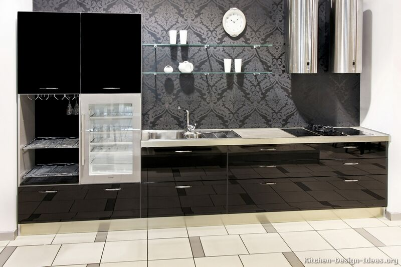 Pin With Black Cabinets Modern Kitchen Ideas With Simple Long Black On