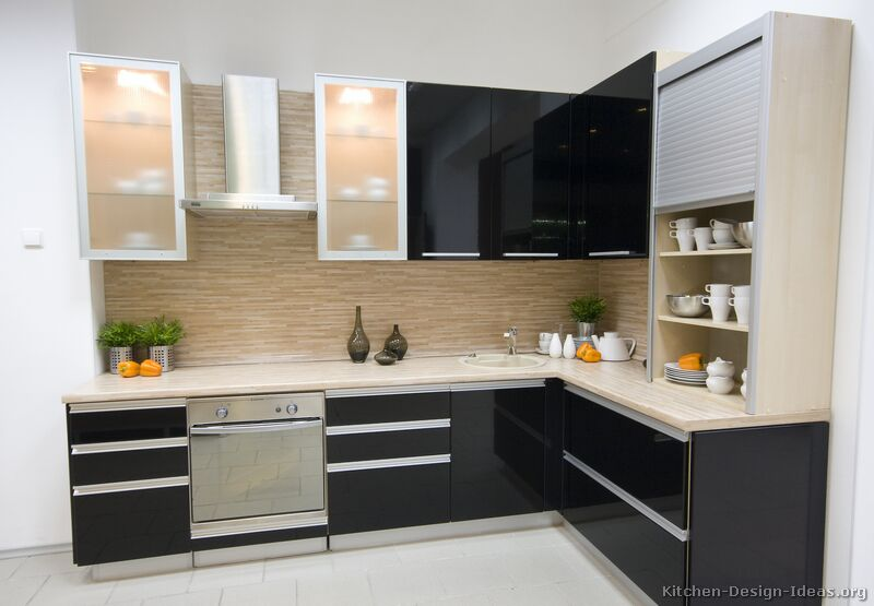 Pictures of kitchens modern black kitchen cabinets for Modern kitchen cupboards