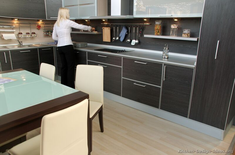 Pictures of kitchens modern black kitchen cabinets for Black kitchen cabinets