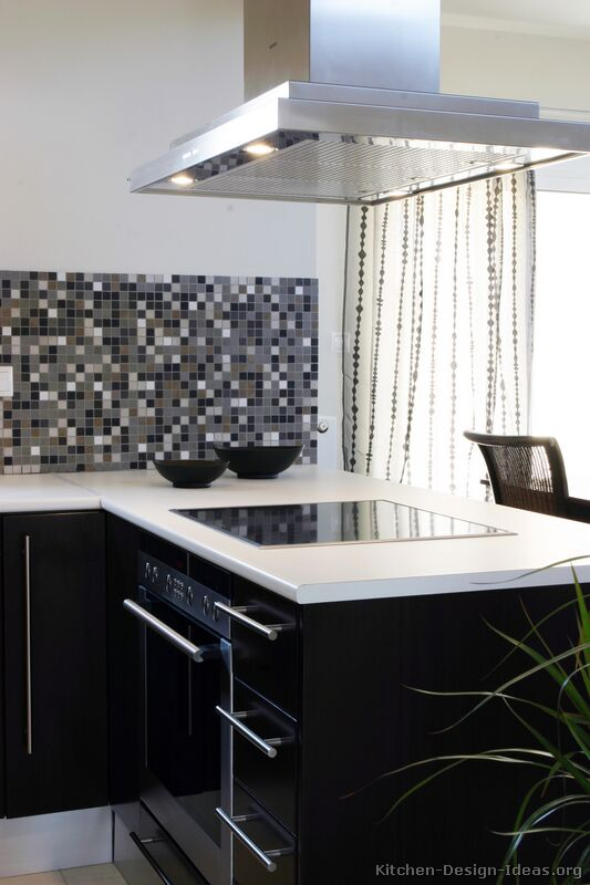Black Kitchen Cabinets with Backsplash-www.kitchen-design-ideas.org