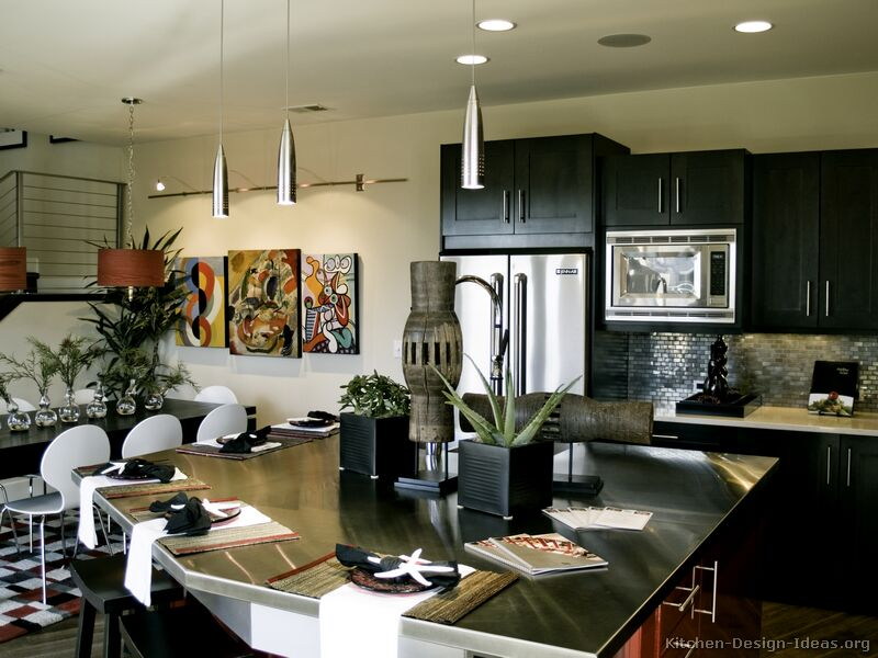 Pictures of kitchens modern black kitchen cabinets for Dark kitchen cabinets light island