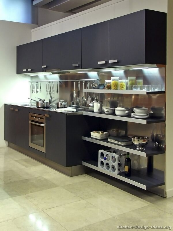 Pictures of kitchens modern black kitchen cabinets for Black kitchen cabinets small kitchen