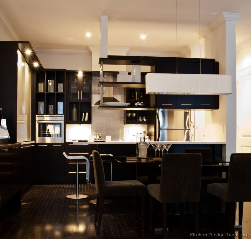 17 modern black kitchen - Black Kitchen Cabinets Pictures