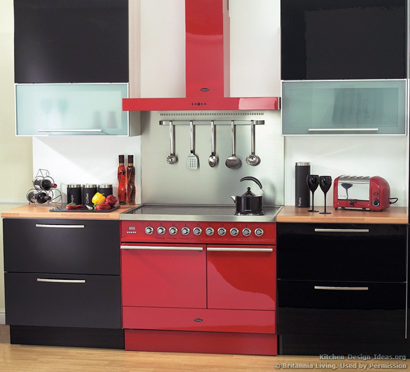 Black And Red Kitchen Designs black and red kitchen designs pictures of kitchens modern black kitchen cabinets Range Oven And Hood In Red