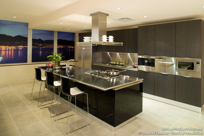 A Contemporary Black Kitchen with Stainless Steel Countertops