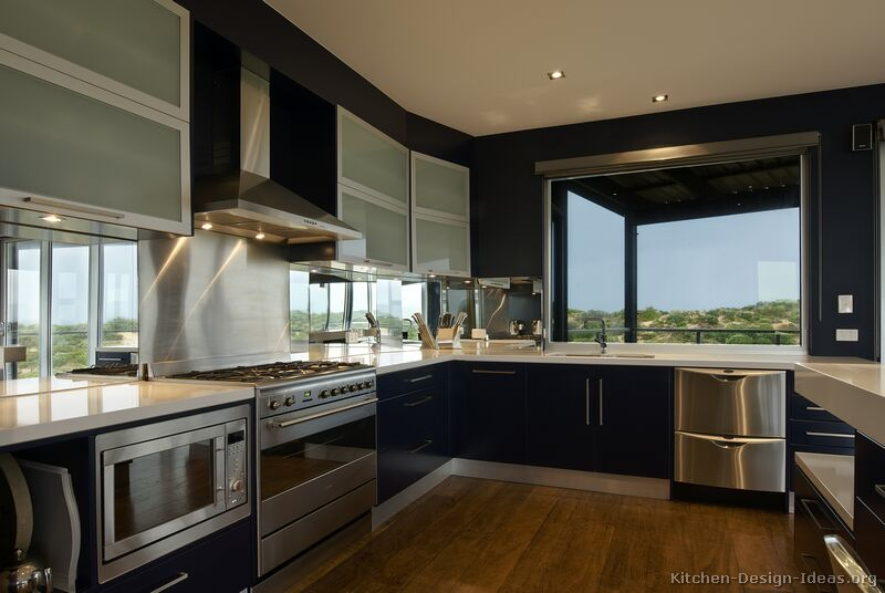 Modern blue kitchen cabinets pictures design ideas for Pictures of new kitchens