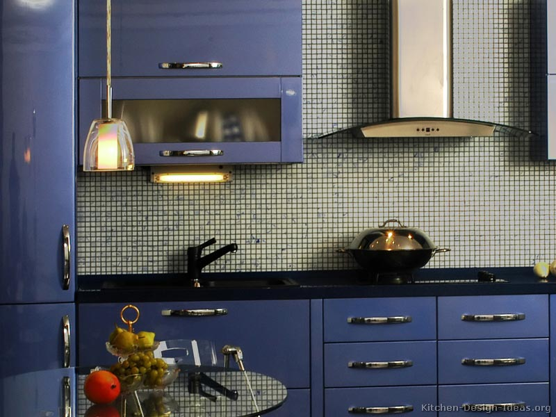 A Modern Blue Kitchen with Glossy Cabinets
