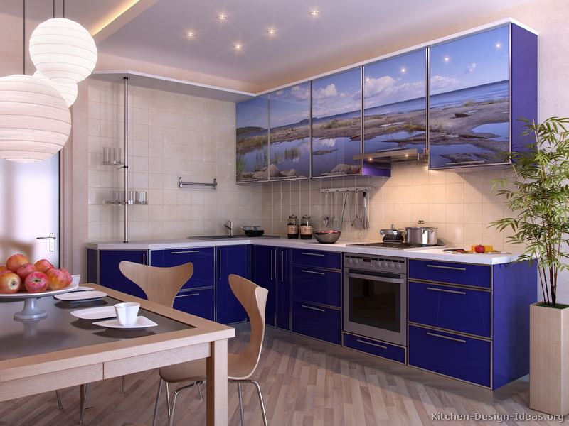 pics photos blue kitchen cabinets
