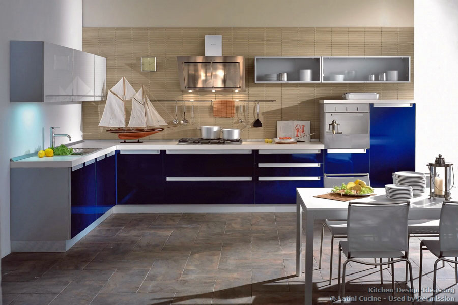 Blue modern kitchen cabinets for Blue and white kitchen cabinets