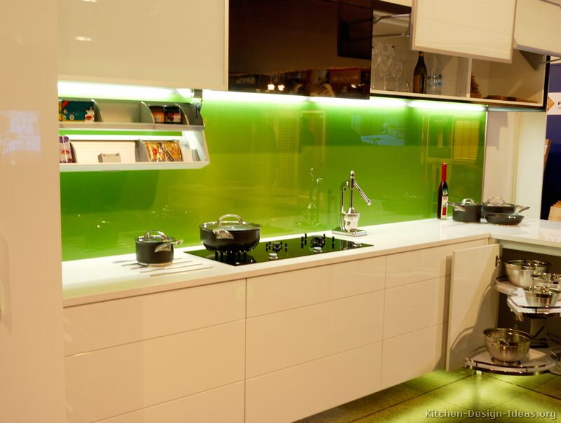 Green Back Painted Glass Backsplash