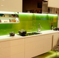 Green Back-Painted Glass Backsplash