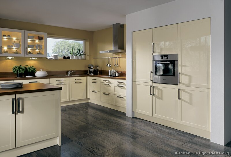 Cream Kitchen Cabinets With White Walls