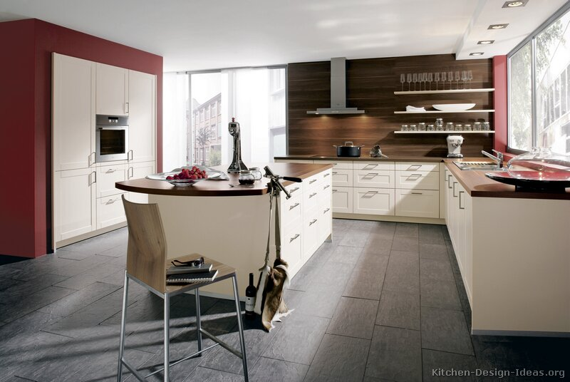 Pictures of kitchens modern cream antique white for Kitchen ideas white cabinets red walls