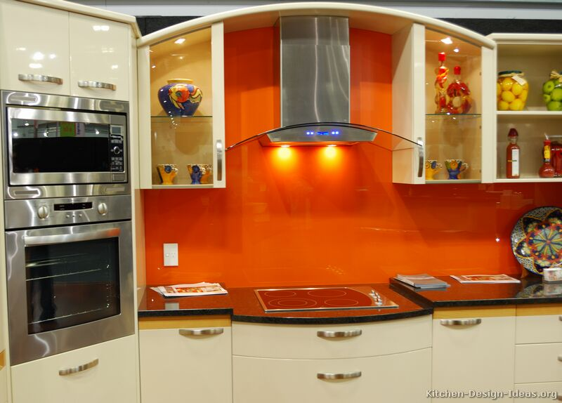 contemporary burnt orange kitchen white cabinets countertops