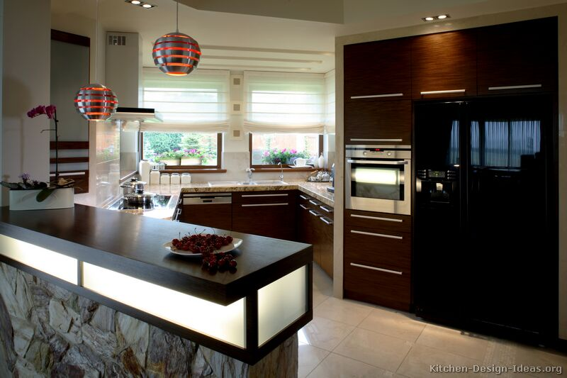 Modern Angular Kitchen with Exotic Wood and Unique Pendant Lights