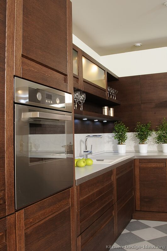 Modern Wood Kitchen Cabinets ~ Pictures of kitchens modern dark wood