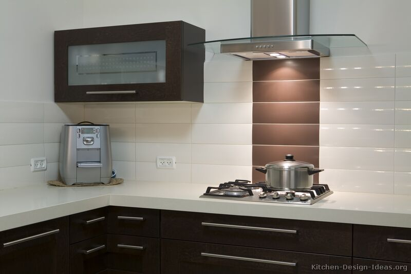 Gallery For Kitchen Backsplash Glass Tile Dark Cabinets