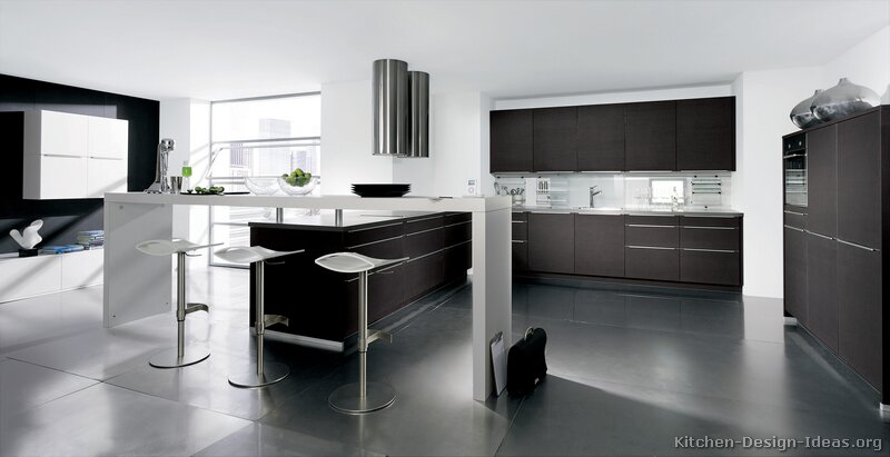 kitchen cabinets modern dark wood 017 A164a near black peninsula