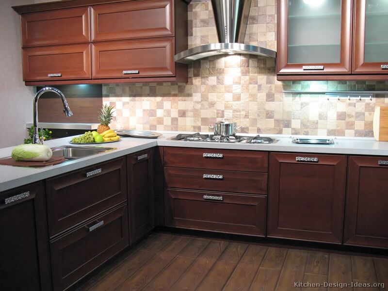 Kitchen Design Ideas Dark Cabinets Under Cabinet Lighting And A Very  Reflective And Large Refrigerator Is