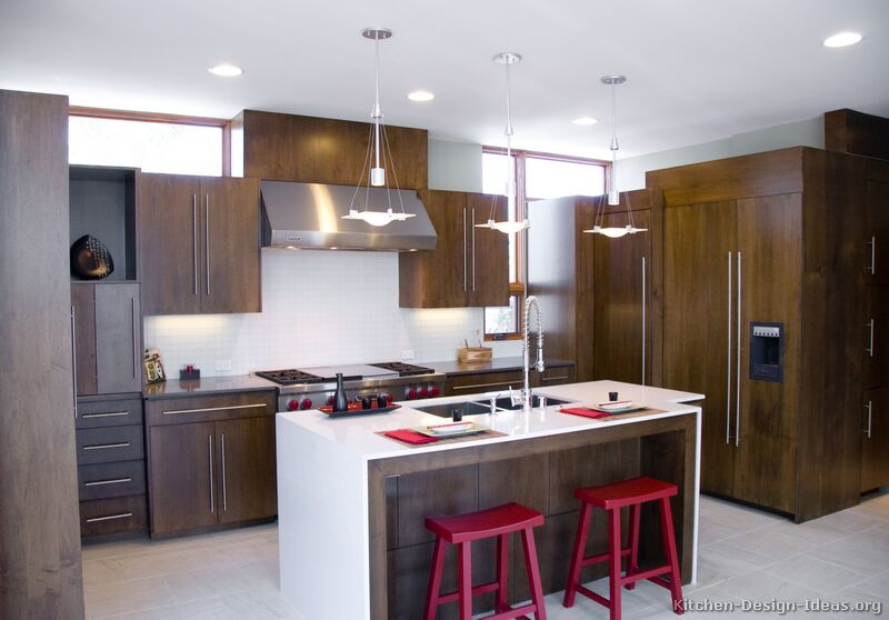 Pictures of kitchens modern dark wood kitchens for Kitchen cabinets modern style