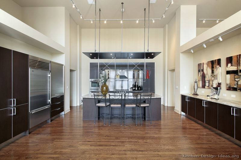 High Ceiling Kitchen Design Ideas ~ Pictures of kitchens modern dark wood page
