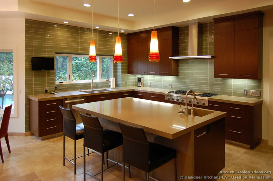 Luxury Modern Kitchen with Dark Cherry Cabinets, Fiery Pendant Lights, and a Glass Tile Backsplash