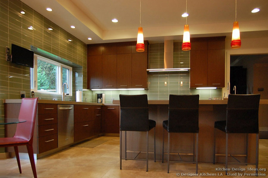 Dark Cherry Kitchen, Beautiful Pendant Lights  Designer Kitchens LA