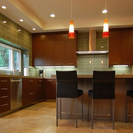 Dark Cherry Kitchen, Beautiful Pendant Lights - Designer Kitchens LA