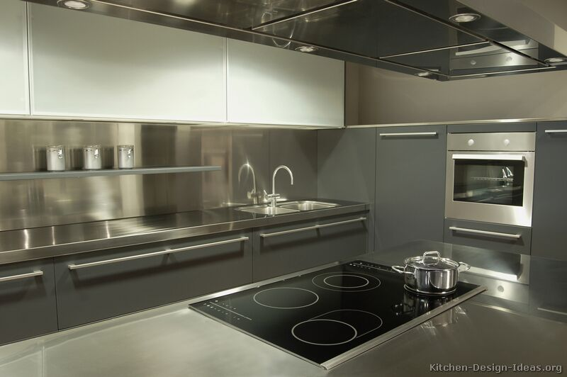 Pictures of kitchens modern gray kitchen cabinets for Stainless steel kitchen ideas