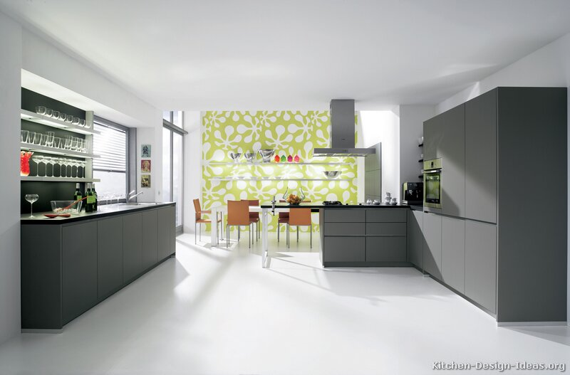 Pictures of kitchens modern gray kitchen cabinets for Modern white and gray kitchen