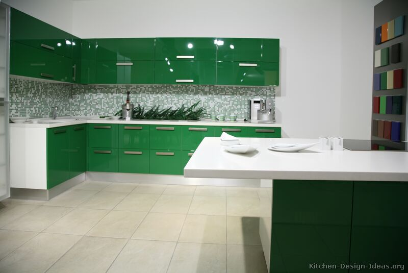 modern green kitchen - Green Kitchen Cabinets