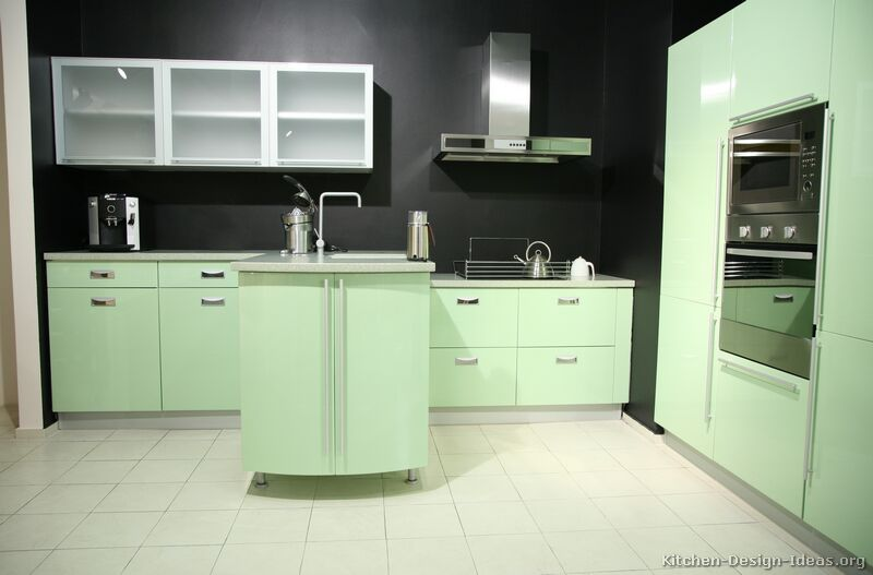 Green Modern Kitchen Cabinets