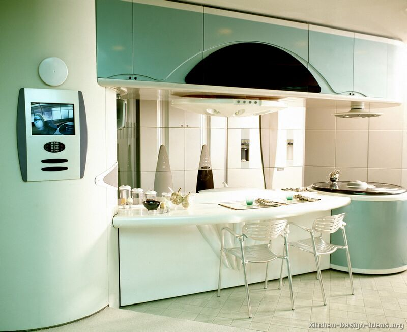 Retro-Futuristic Kitchen Design with Curved Turquoise Cabinets