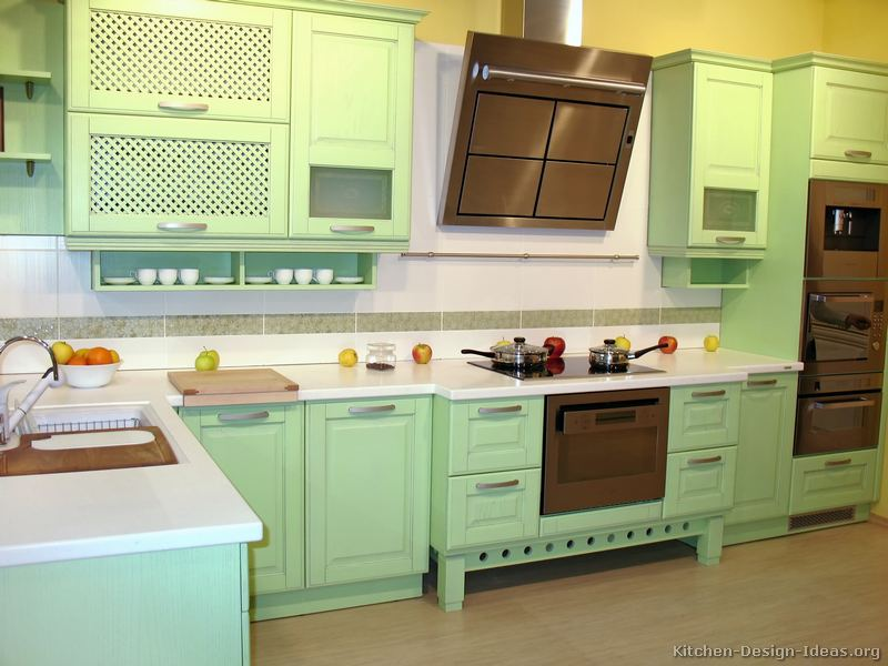 Pictures of kitchens modern green kitchen cabinets for Kitchen cabinets green