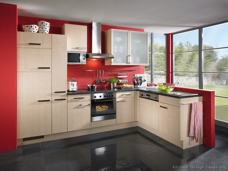 Modern light wood kitchen cabinets pictures design ideas for Dark red kitchen cabinets