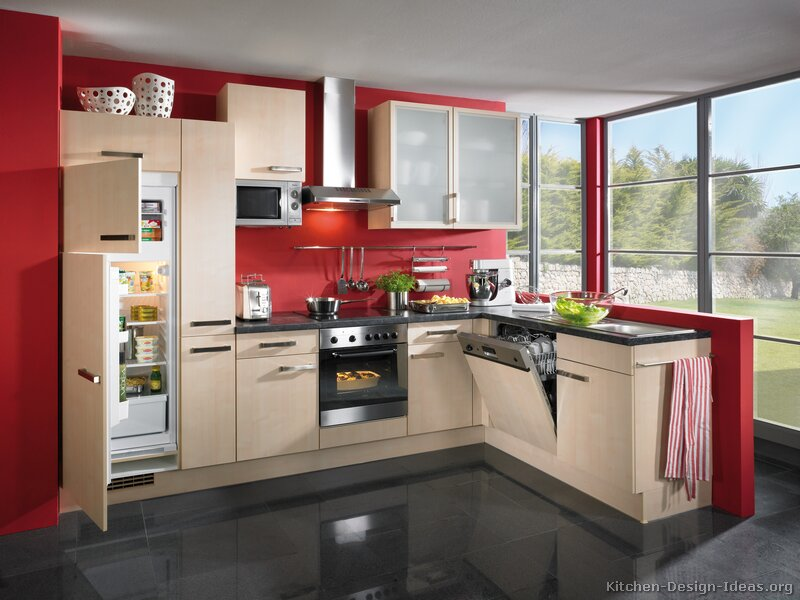Kitchen cabis modern light wood ab red walls dark tile floor ...