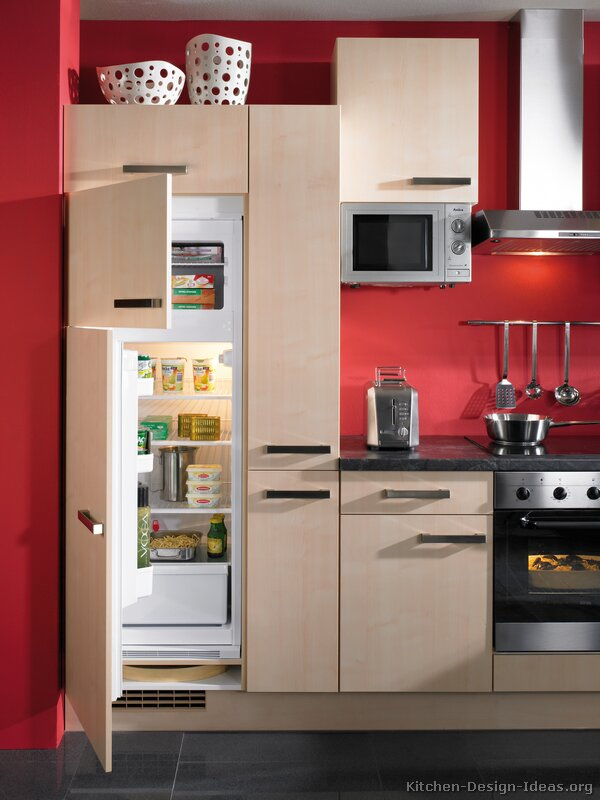 Kitchen cabis modern light wood ac red walls dark tile floor ...