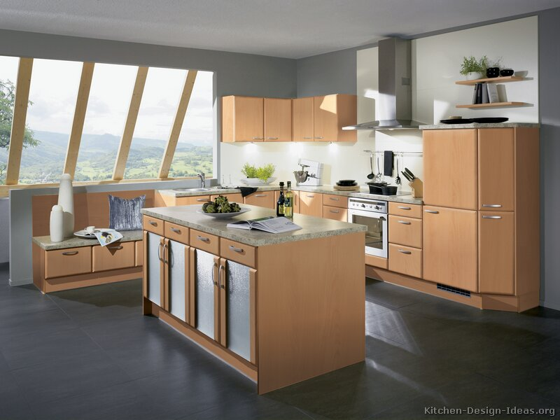Modern Light Wood Kitchen Cabinets Pictures Design Ideas - Grey kitchen cabinets with light floors