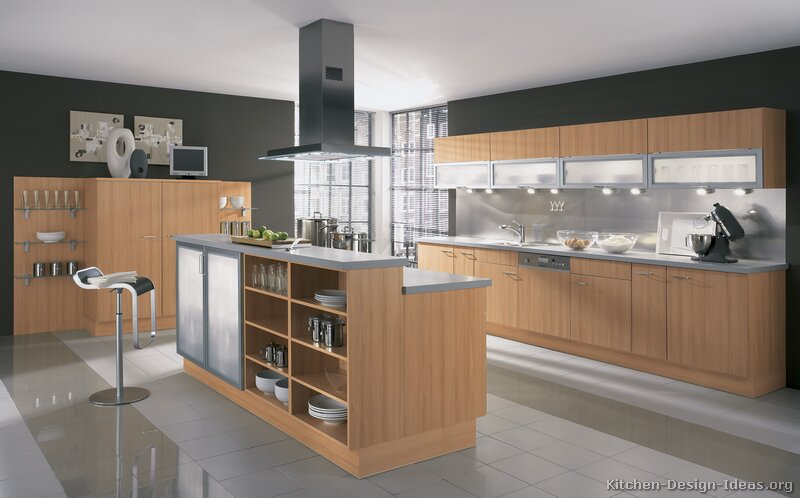 Modern Wood Kitchen Cabinets ~ Modern light wood kitchen cabinets pictures design ideas