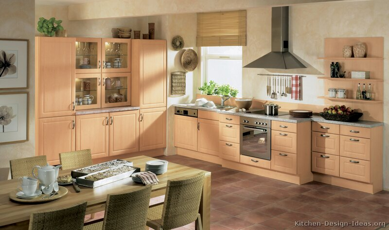 Modern light wood kitchen cabinets pictures design ideas for Built in kitchen cabinets