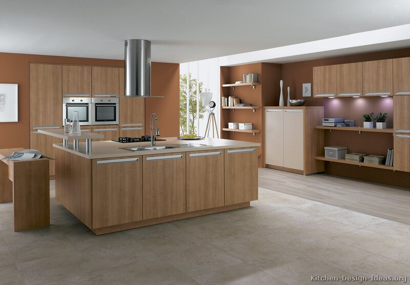 Pictures of kitchens modern light wood kitchen for Contemporary oak kitchen cabinets