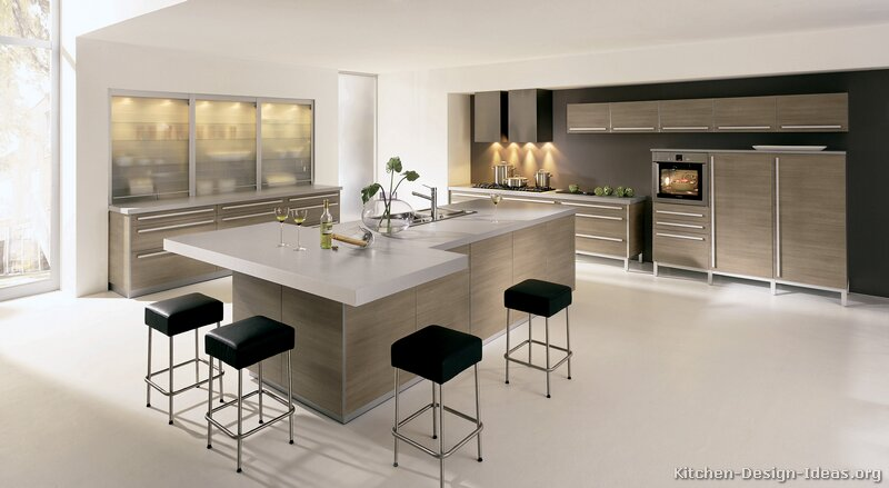 Kitchen Cabinets Modern Light Wood 026 A131a White Countertop Island