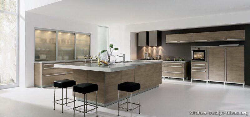 01, Modern Light Wood Kitchen Home Design Ideas