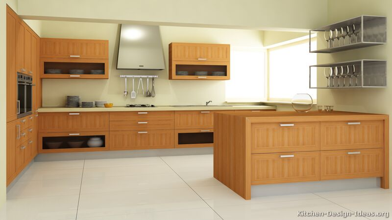 Pictures of kitchens modern light wood kitchen for Modern wood kitchen cabinets