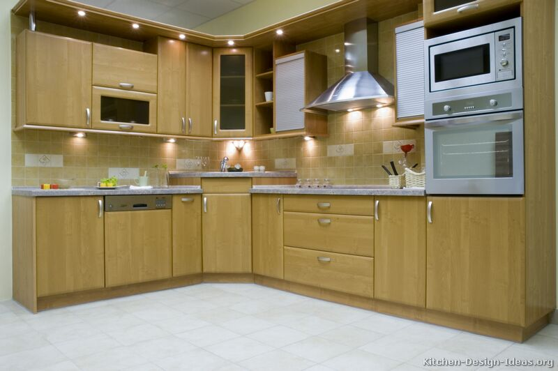 Pictures of kitchens modern light wood kitchen for Corner kitchen cabinet