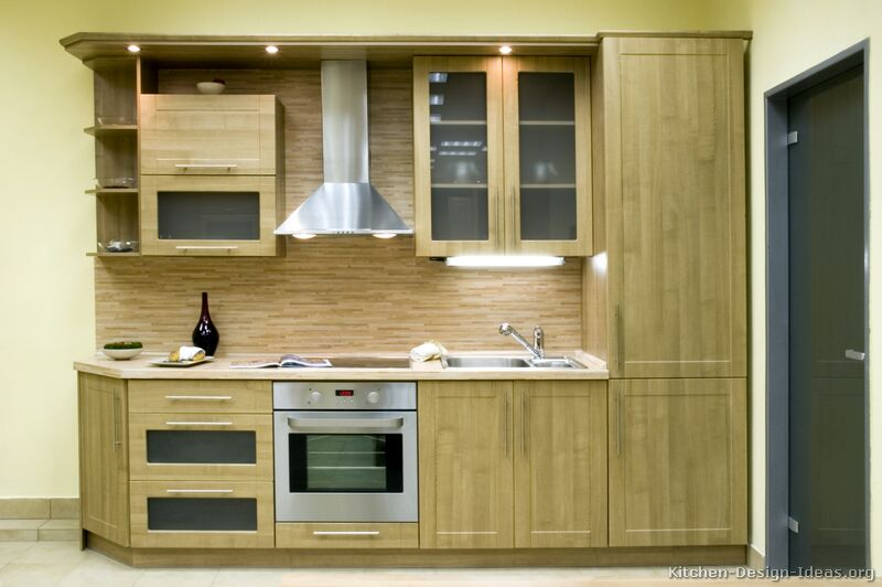 Pictures of kitchens modern light wood kitchen for Angled kitchen cabinets