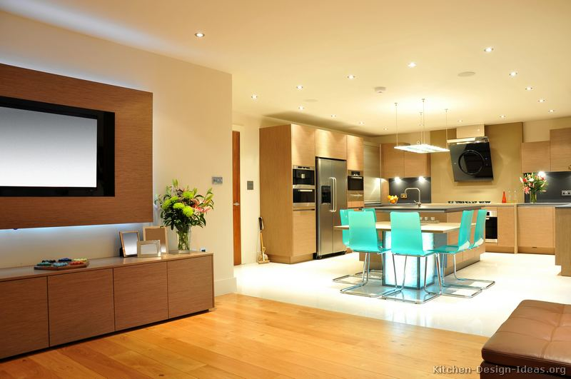 Pictures of kitchens modern light wood kitchen for Tv in the kitchen ideas